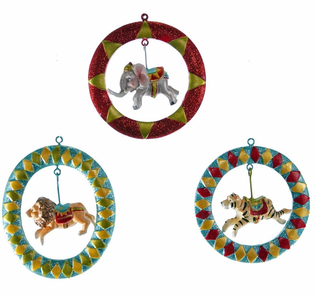 Circus Animals Jumping Through Hoops Ornaments