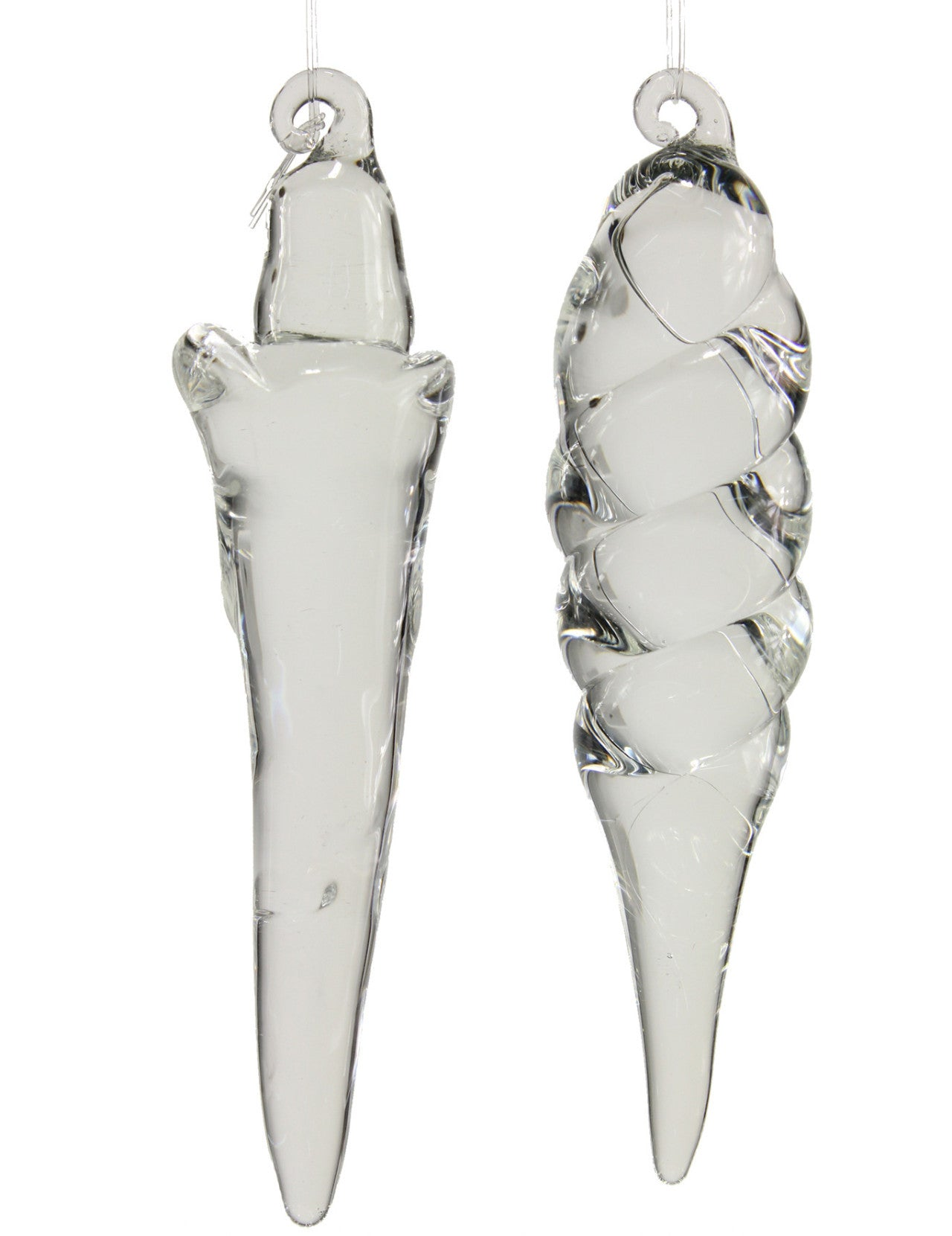 Free-Form Solid Glass Icicle Ornaments