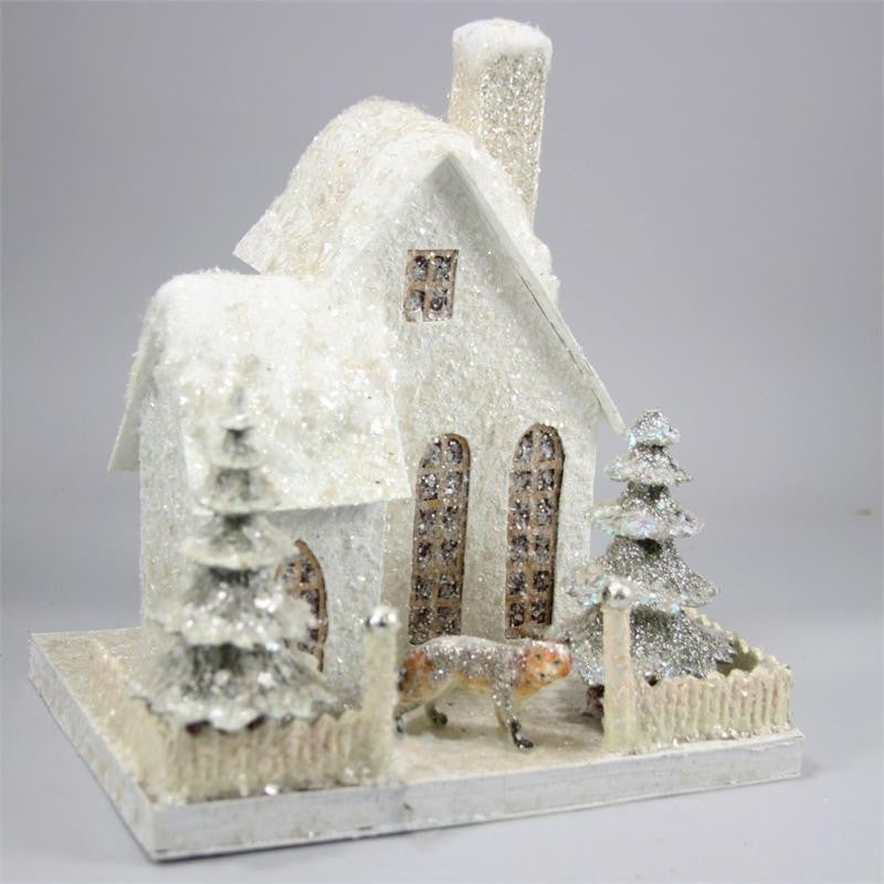 Snowcapped House with Fox