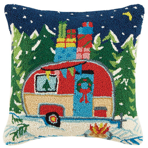 Colorful Christmas Camper Pillow - Hooked Pillows