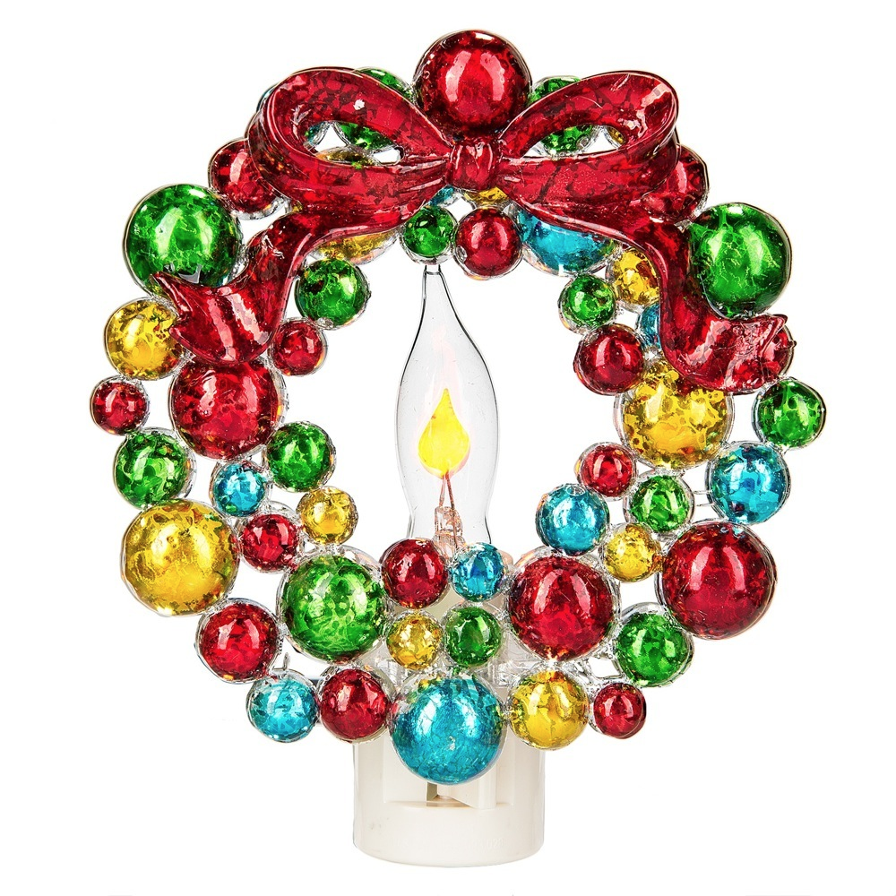 Colorful Christmas Wreath Flickering Night Light