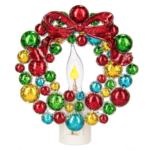 colorful christmas wreath flickering night light - Christmas Night Light