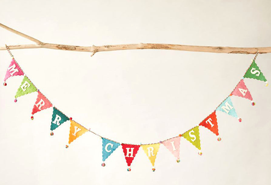 Colorful Felt Merry Christmas Banner Garland