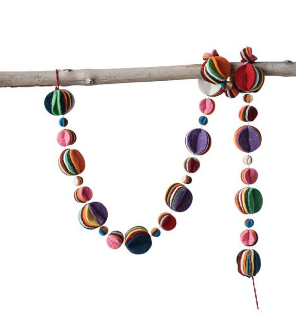 Colorful Garland with Layered Felt Circles - Multi Color Circle Felt Garland