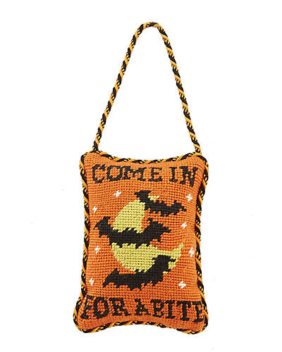 Come In For A Bite Halloween Door Hanger with Bats - Needlepoint