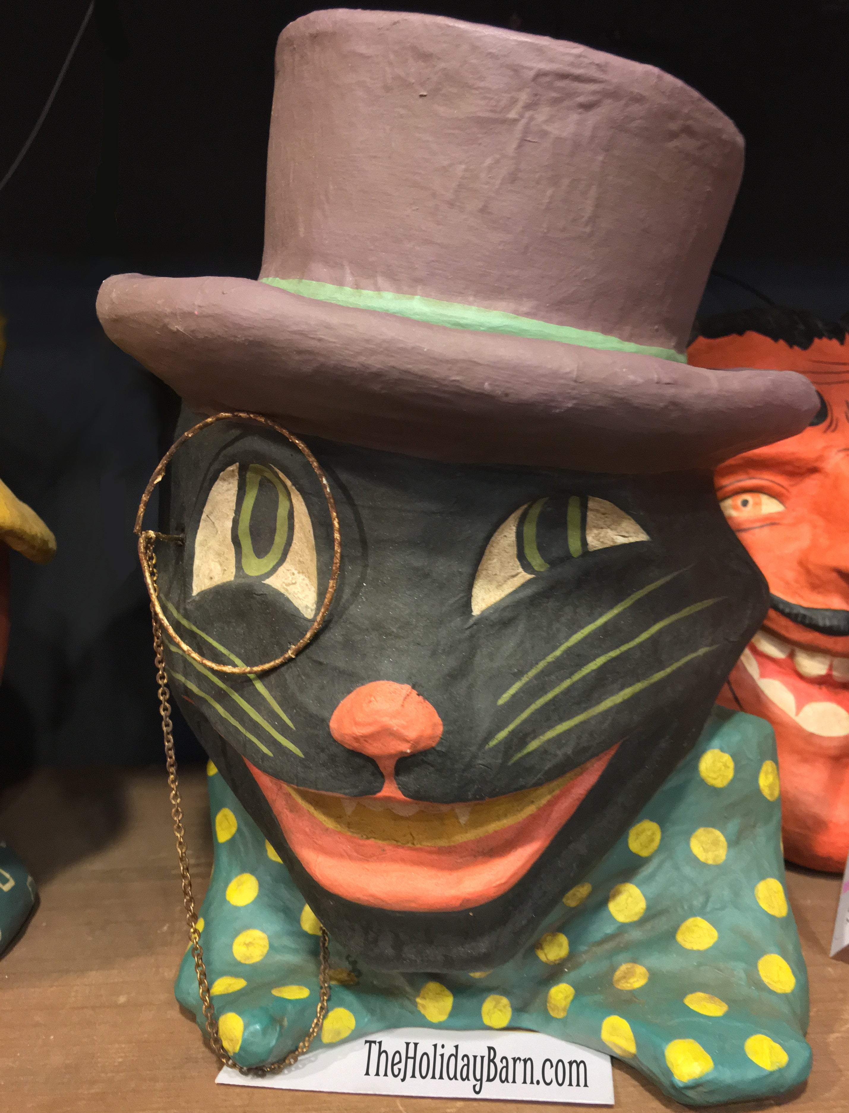 Black Cat with Monocle, Bowtie & Top Hat Paper Mache Candy Bucket