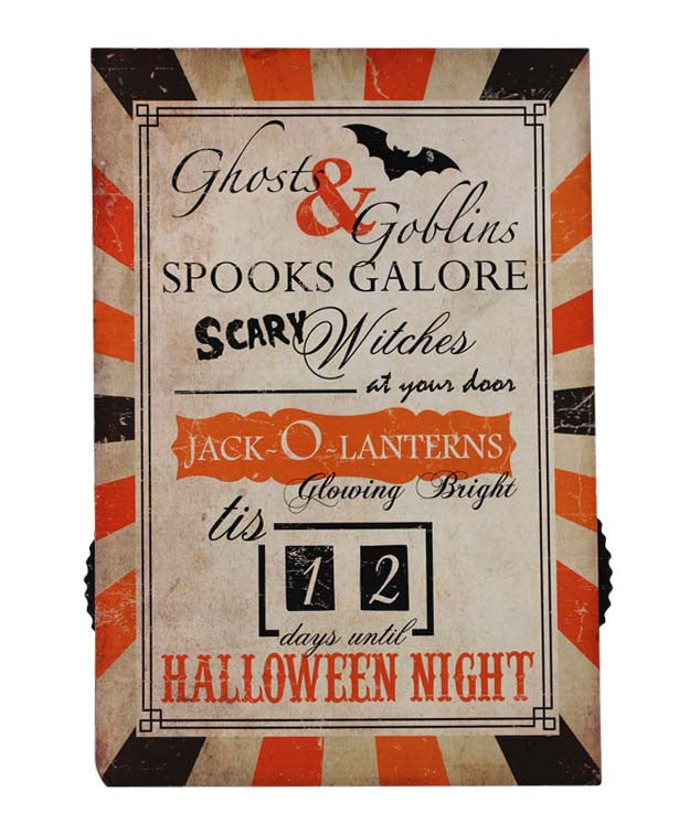 Count Down to Halloween Sign - Bethany Lowe