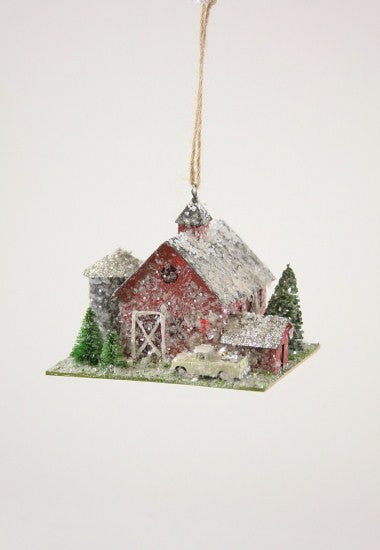 Country Barn with Farm Truck Ornament
