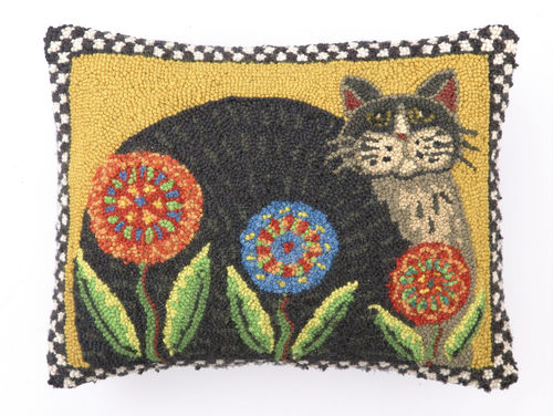 Country Cat with Penny Flowers Hooked Pillow