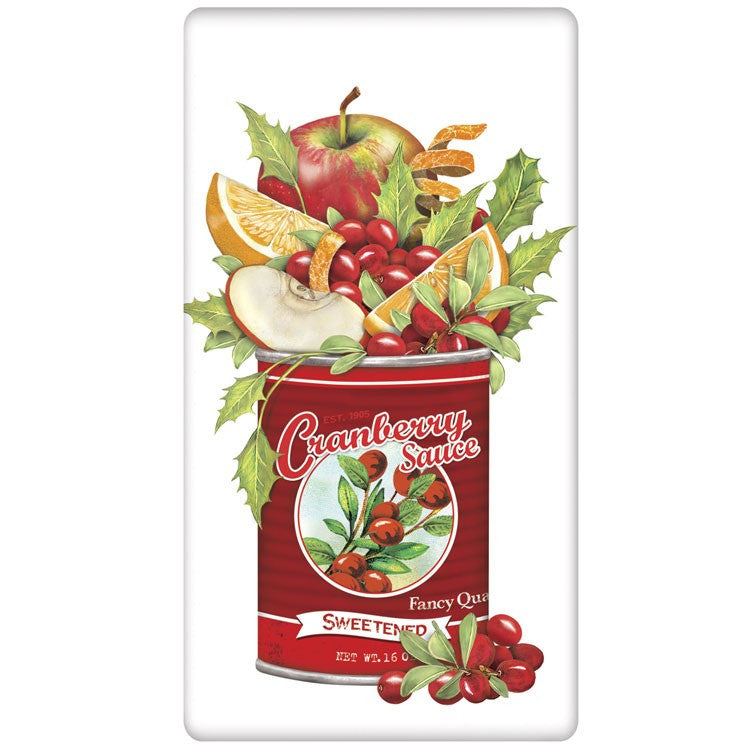 Cranberry Sauce Can Flour Sack Kitchen Towel by Mary Lake Thompson