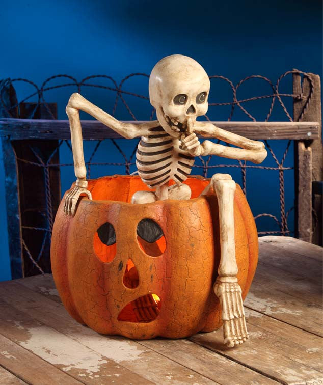 Creeping Skeleton Hiding in Pumpkin - Large Bethany Lowe Halloween Jack-O-Lantern Centerpiece