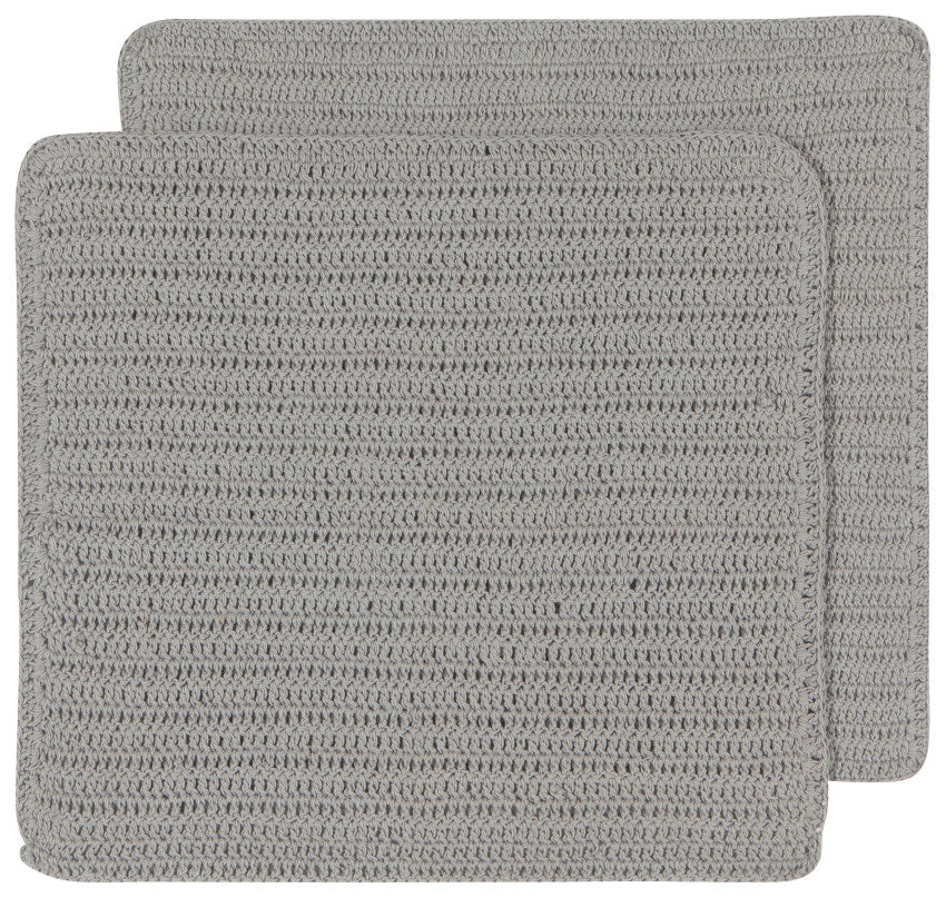 Crocheted Dishcloths, Gray