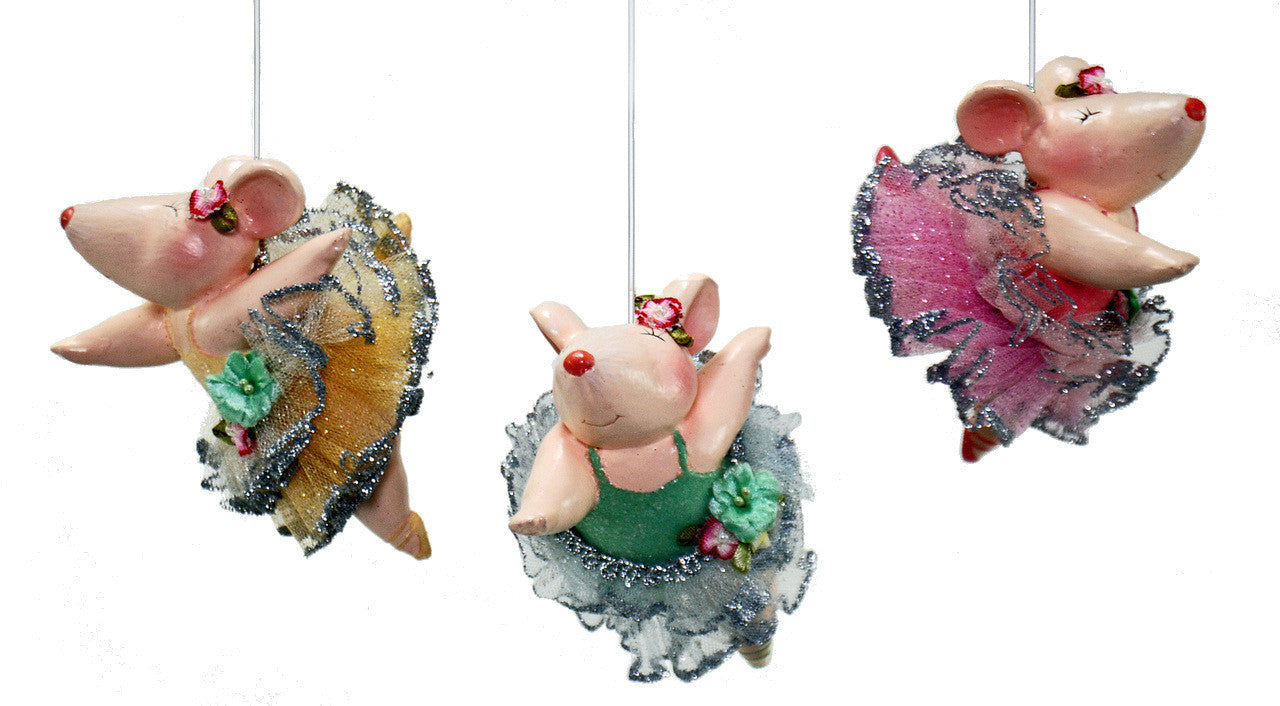 Dancing Ballerina Mice Ornaments - Mouse in Tutu