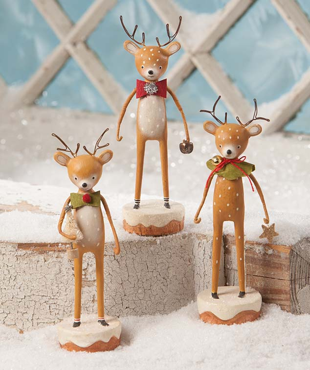 Dasher, Dancer and Prancer Reindeer Figurines