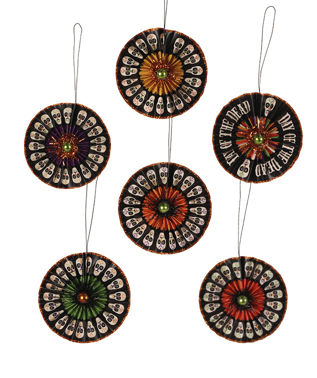 Day of the Dead Rosette Ornaments with Skulls