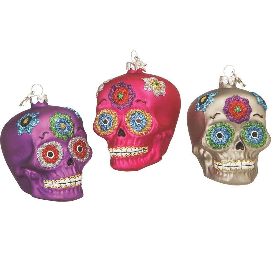 Day of the Dead Sugar Skull Glass Ornaments
