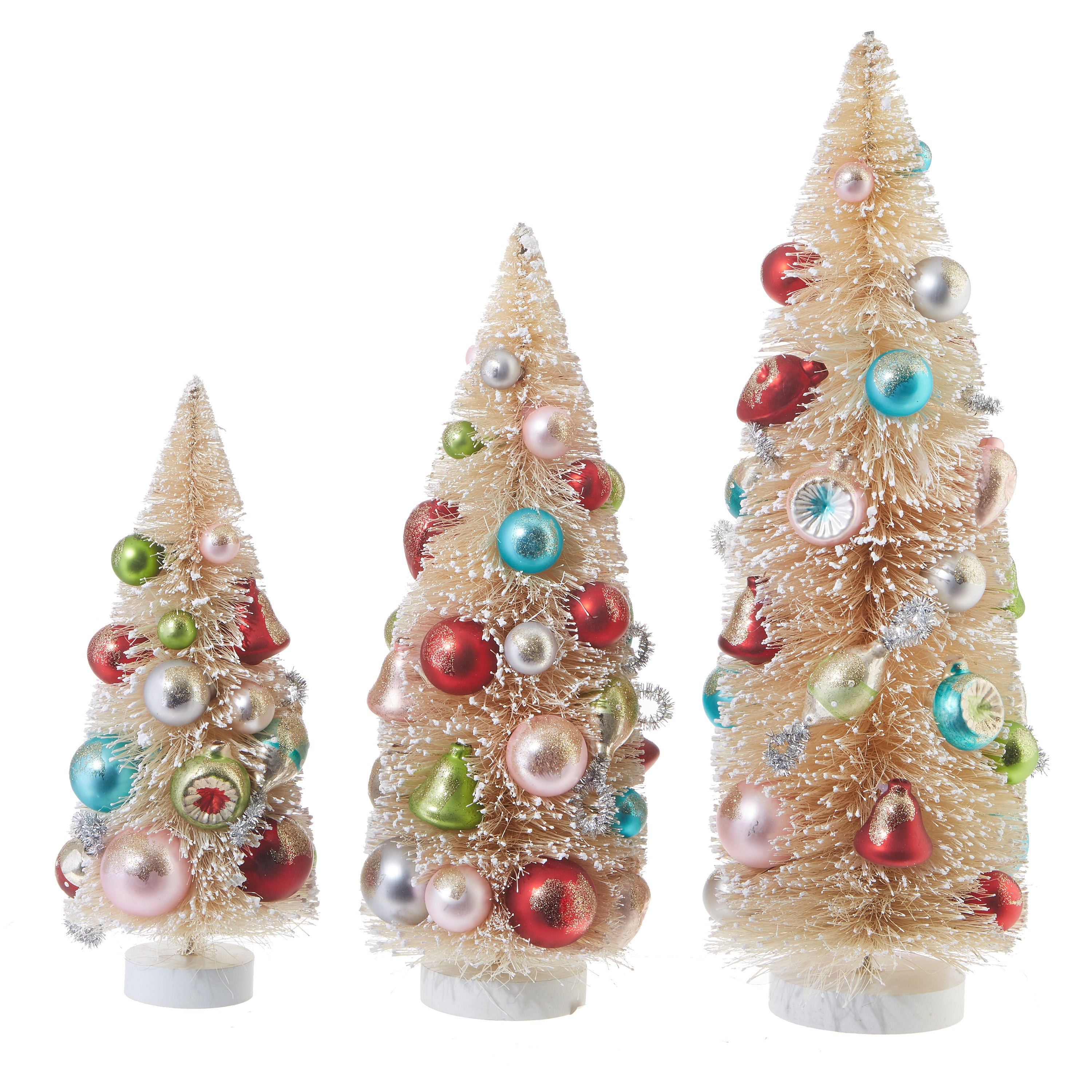 Decorated Bottle Brush Trees with Ornaments, Natural
