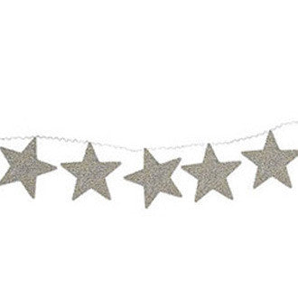 Silver Glittered Star Garland