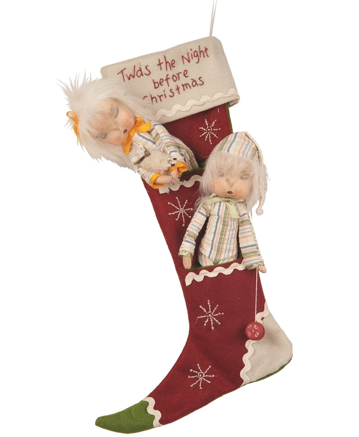 Dilly & Dally Christmas Stocking with Dolls by Joe Spencer
