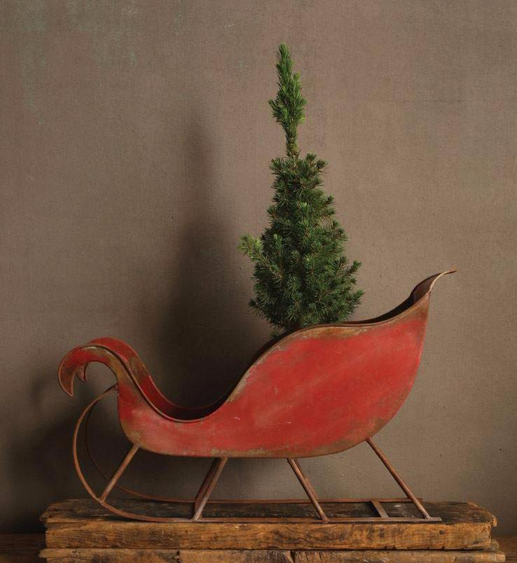 Distressed Red Tin Sleigh