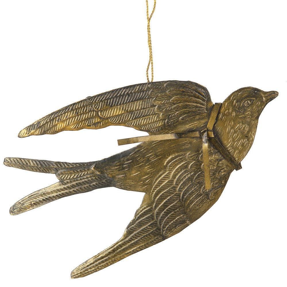 Aged Iron Dove Ornament | Christmas Bird