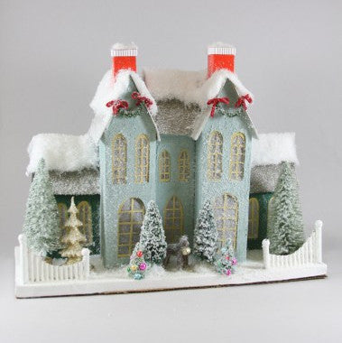 Dreamy Blue Manor Christmas Putz Glitter House