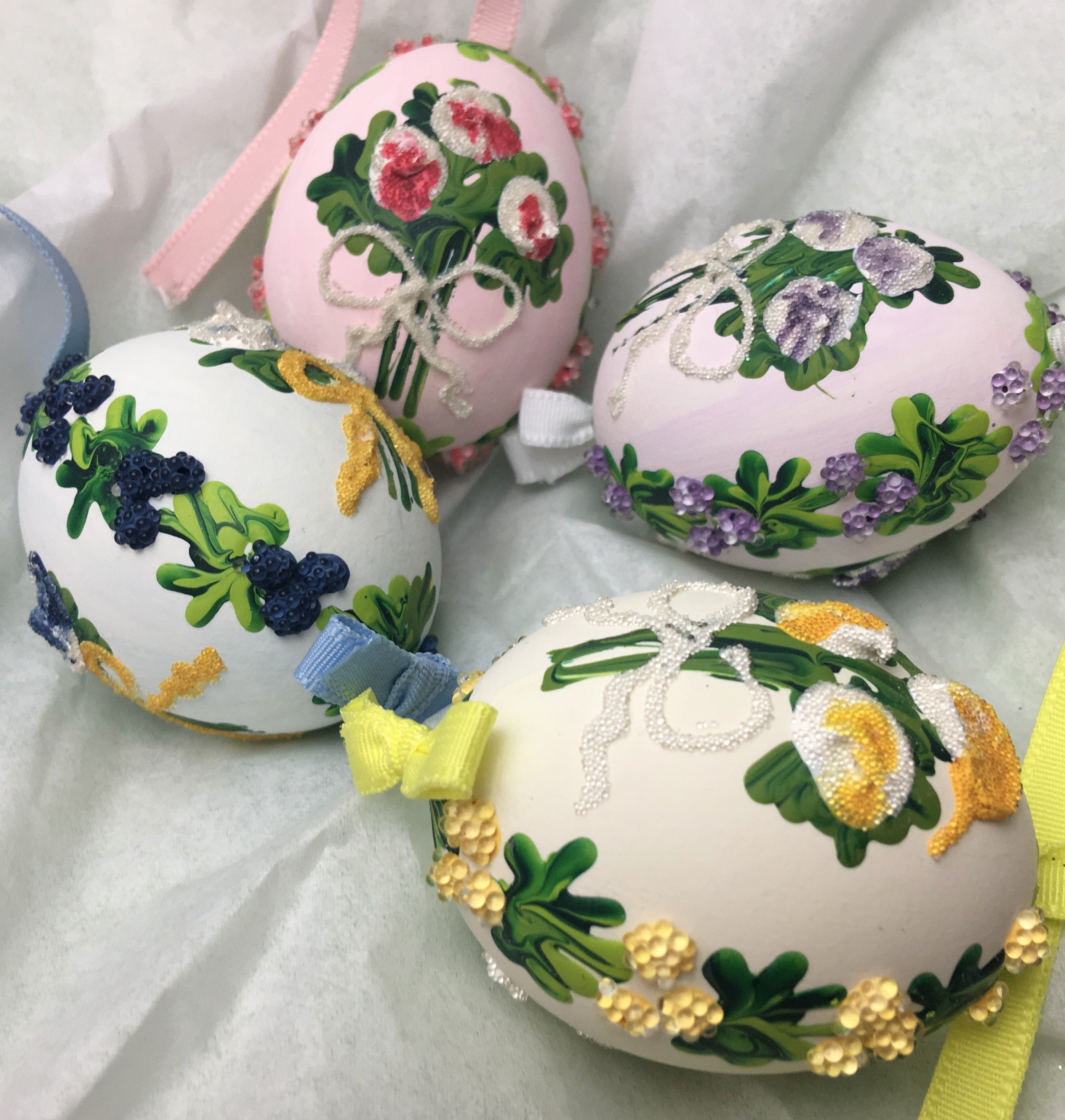 Easter Ornaments Made from Real Eggshells Decorated with Flowers