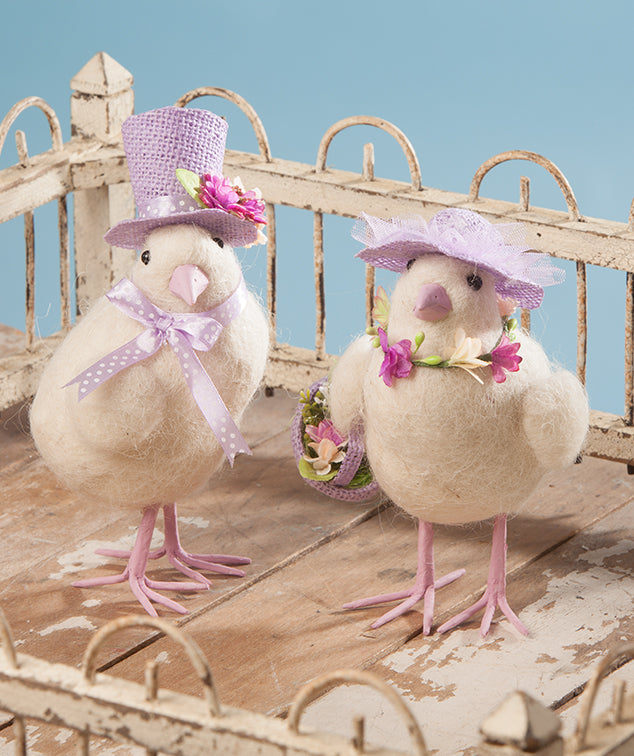 Easter Chicks with Purple Hats by Bethany Lowe