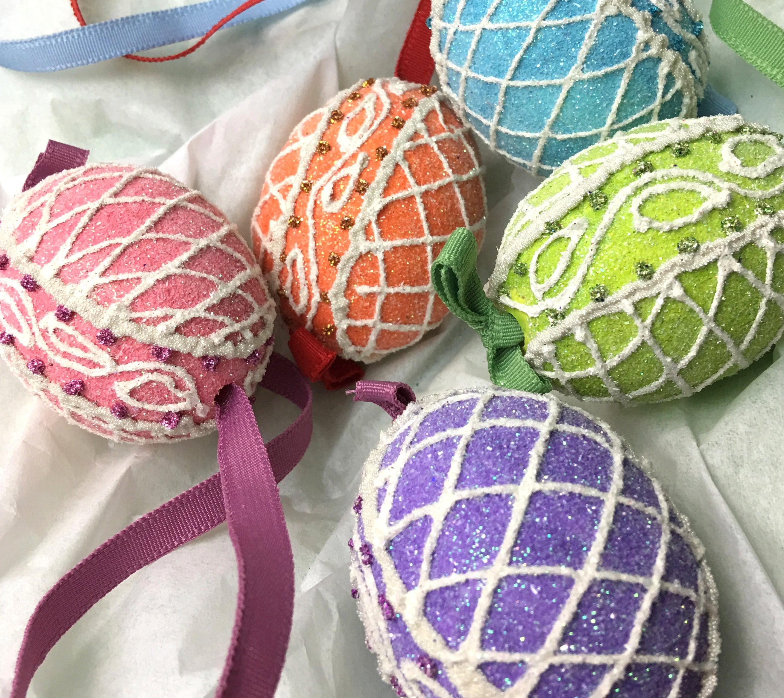 Easter Egg Ornaments Decorated Like Sugar Eggs