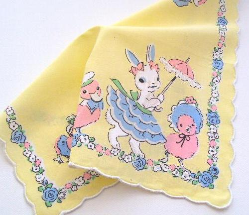 Easter Parade Vintage Reproduction Handkerchief