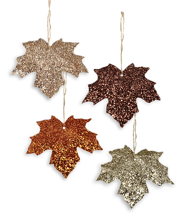 Elegant Glitter Leaf Ornaments