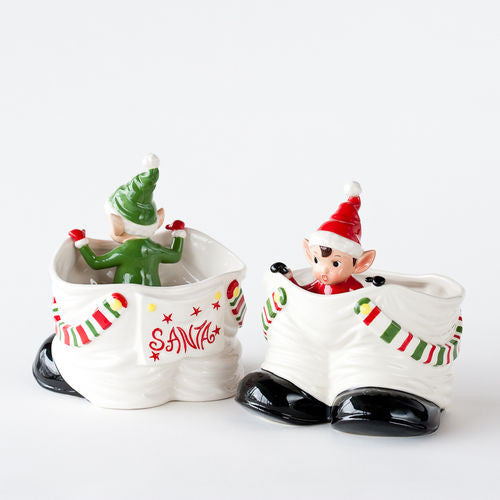 Retro Elf in Santa Pants Candy Dish
