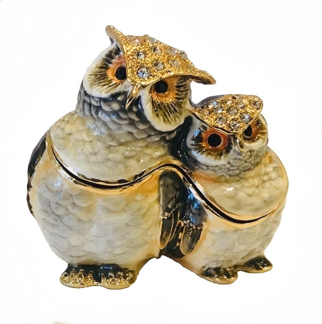 Enameled Owl Trinket Box