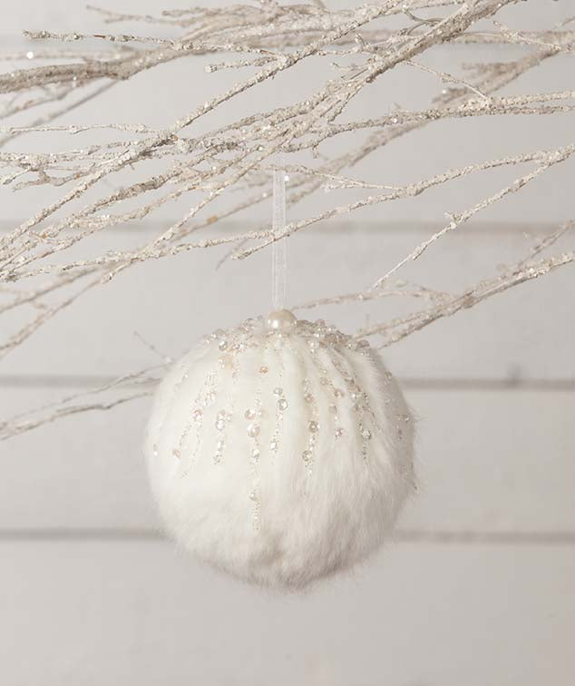 Encrusted Fur Snowball Ornament
