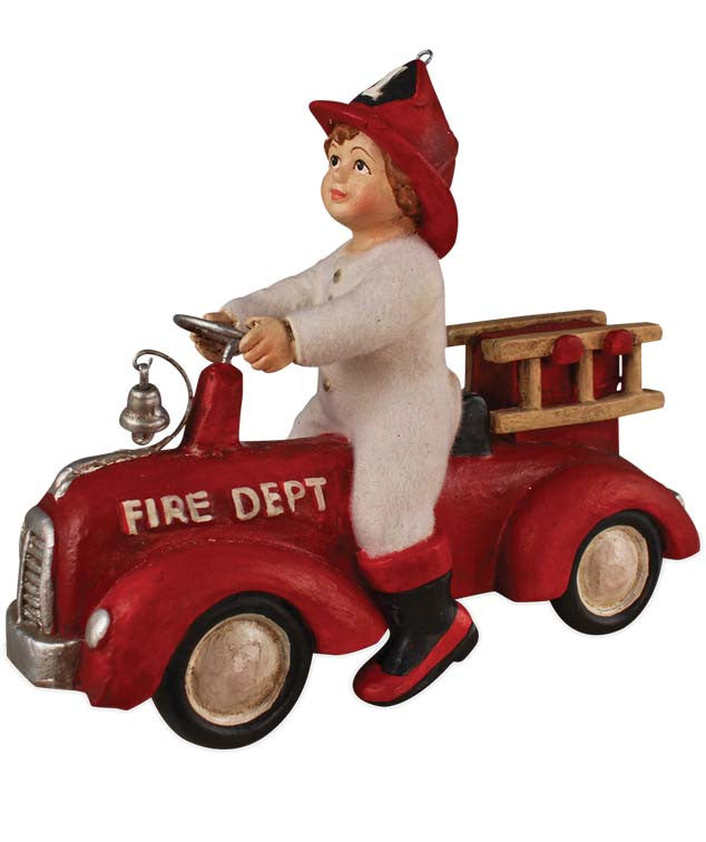 Ethan On Fire Truck Ornament - Bethany Lowe