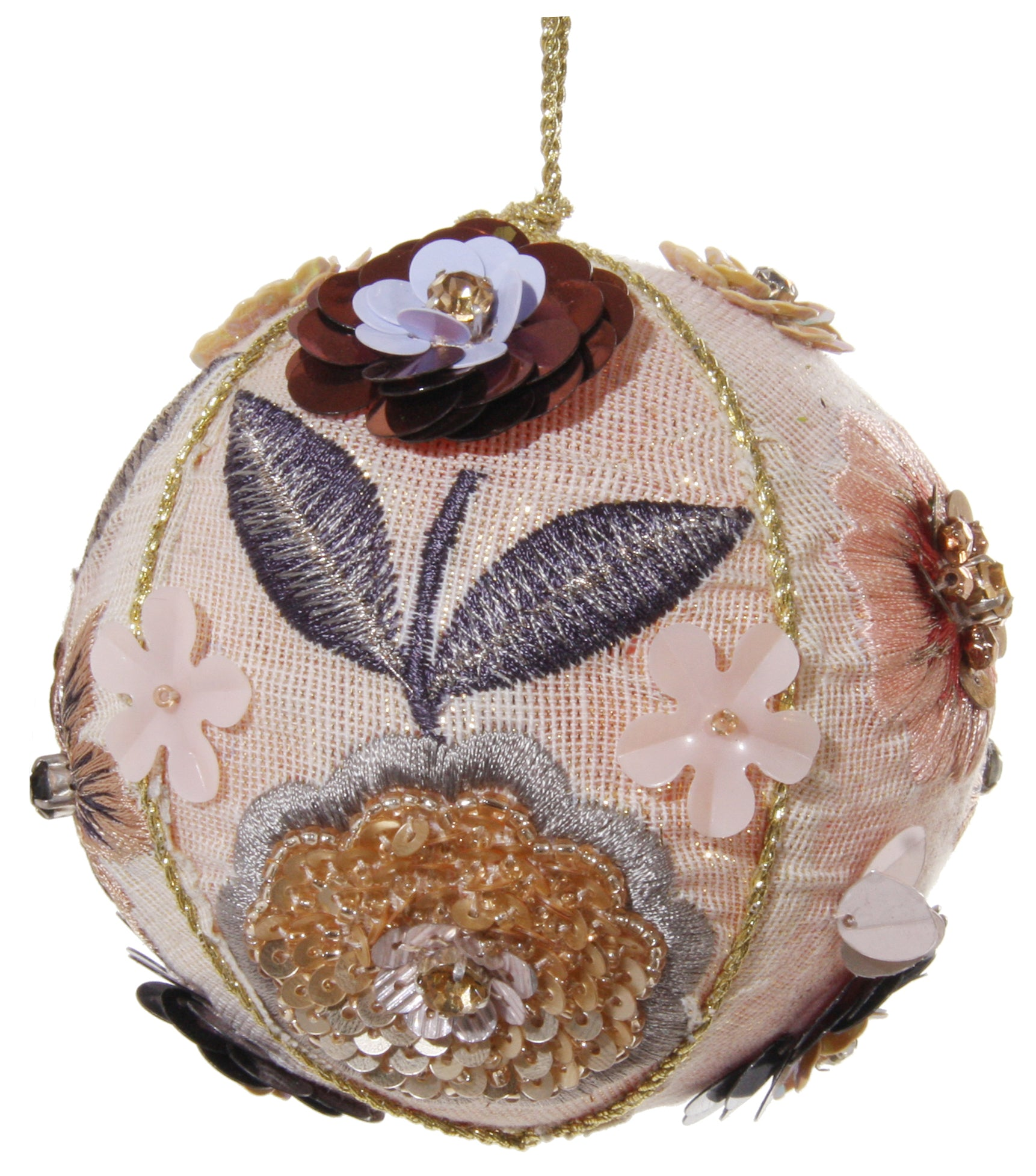 Fabric Ball Ornament with Beaded and Embroidered Flowers, Pink