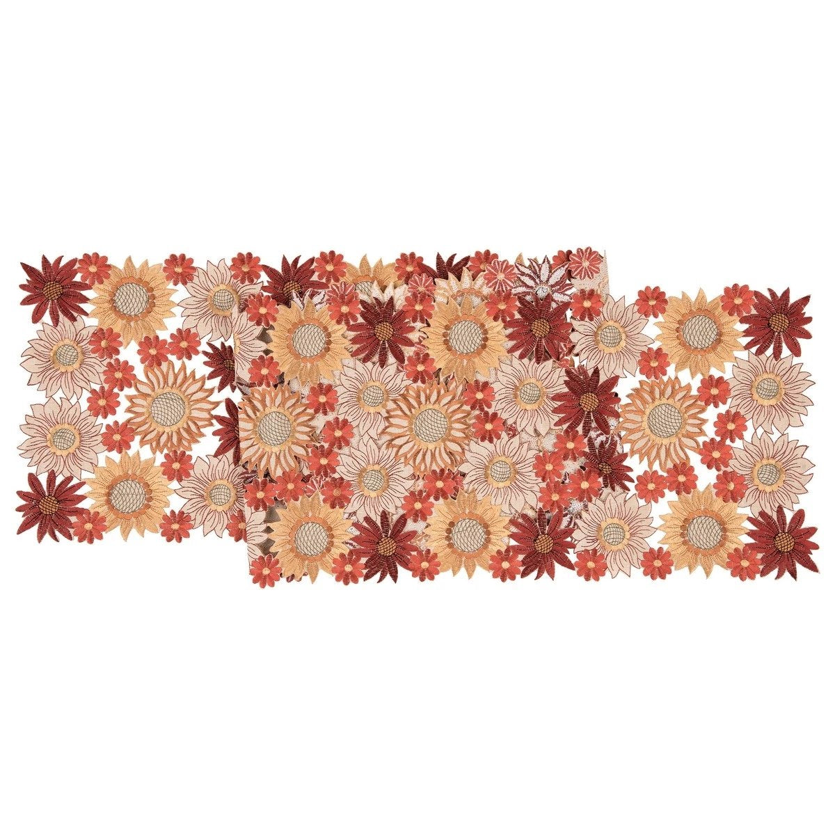 Fall Flowers Table Runner with embriodered sunflowers and mums