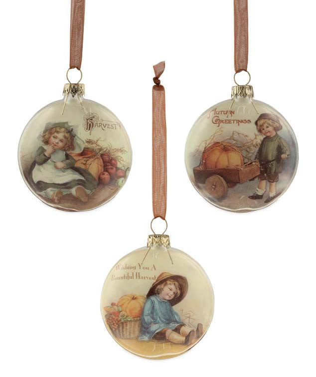 Fall Harvest Glass Disc Ornaments - Bethany Lowe