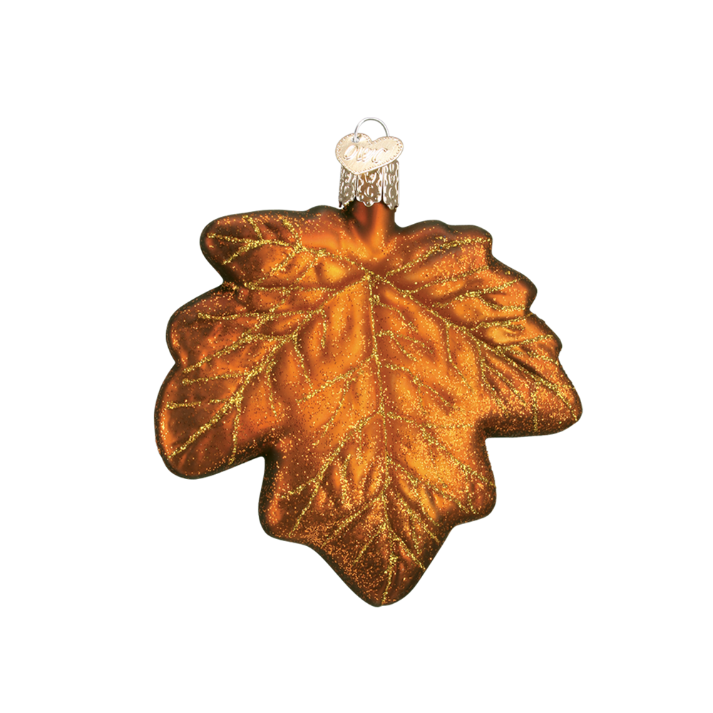 Rust Maple Leaf Glass Ornament by Old World Christmas