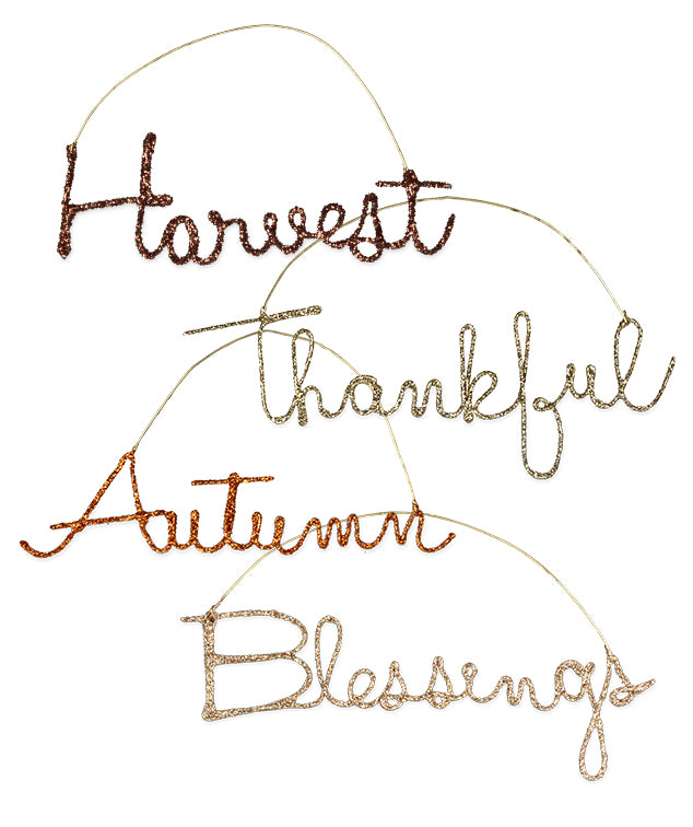 cursive fall word ornaments gratitude wire thanksgiving