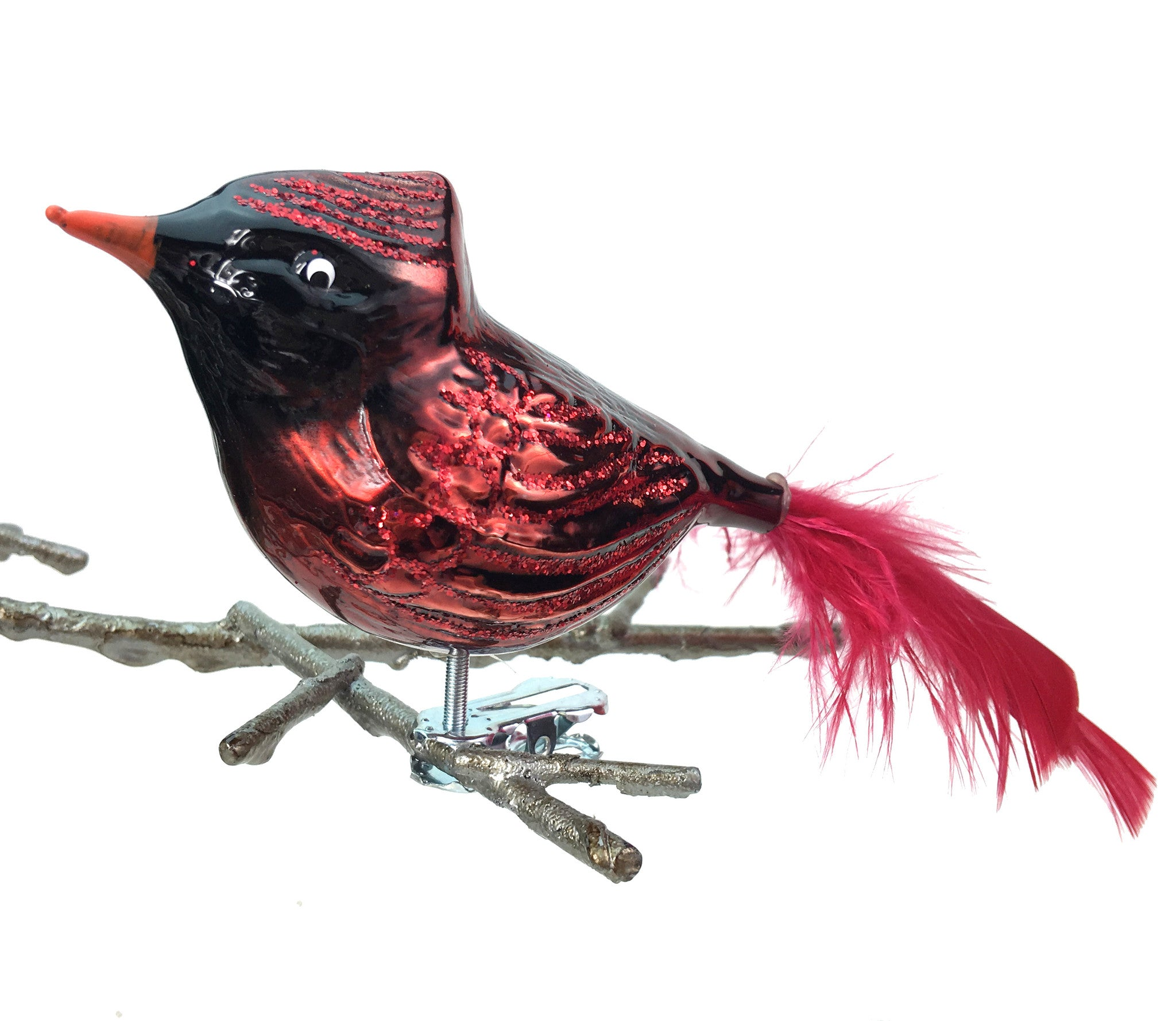 Fat Cardinal Glass Clip-On Ornament with Feathers Made in Germany