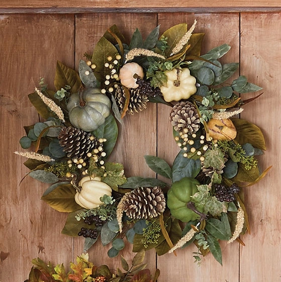Farmhouse Pumpkin Wreath - Thanksgiving Wall Decor