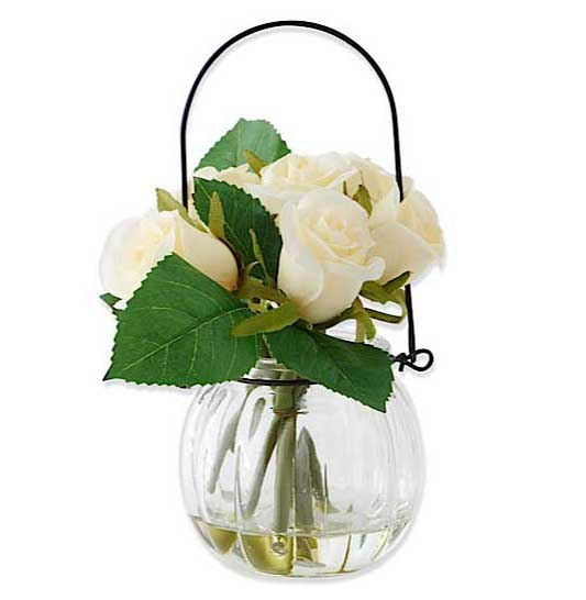 Faux White Roses in Vase with Wire Hanger
