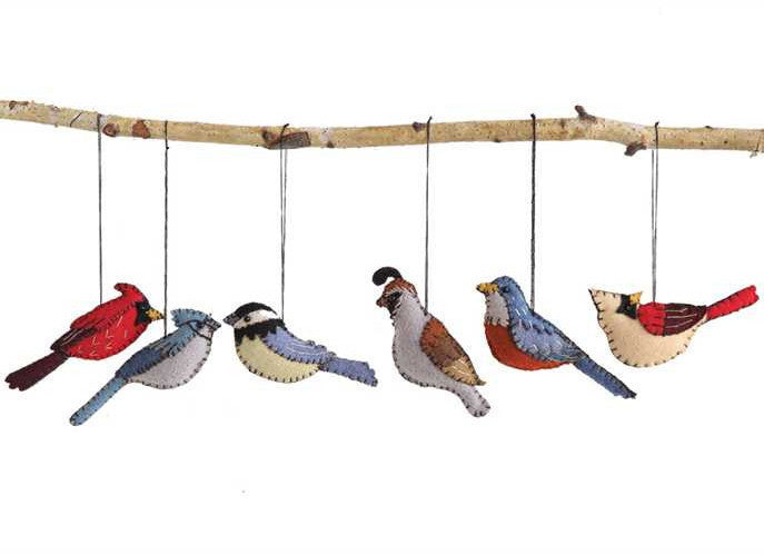 Hand Embroidered Felt Bird Ornaments - Christmas Decorations
