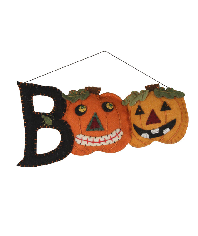 Felt Boo Applique Ornament with Pumpkins