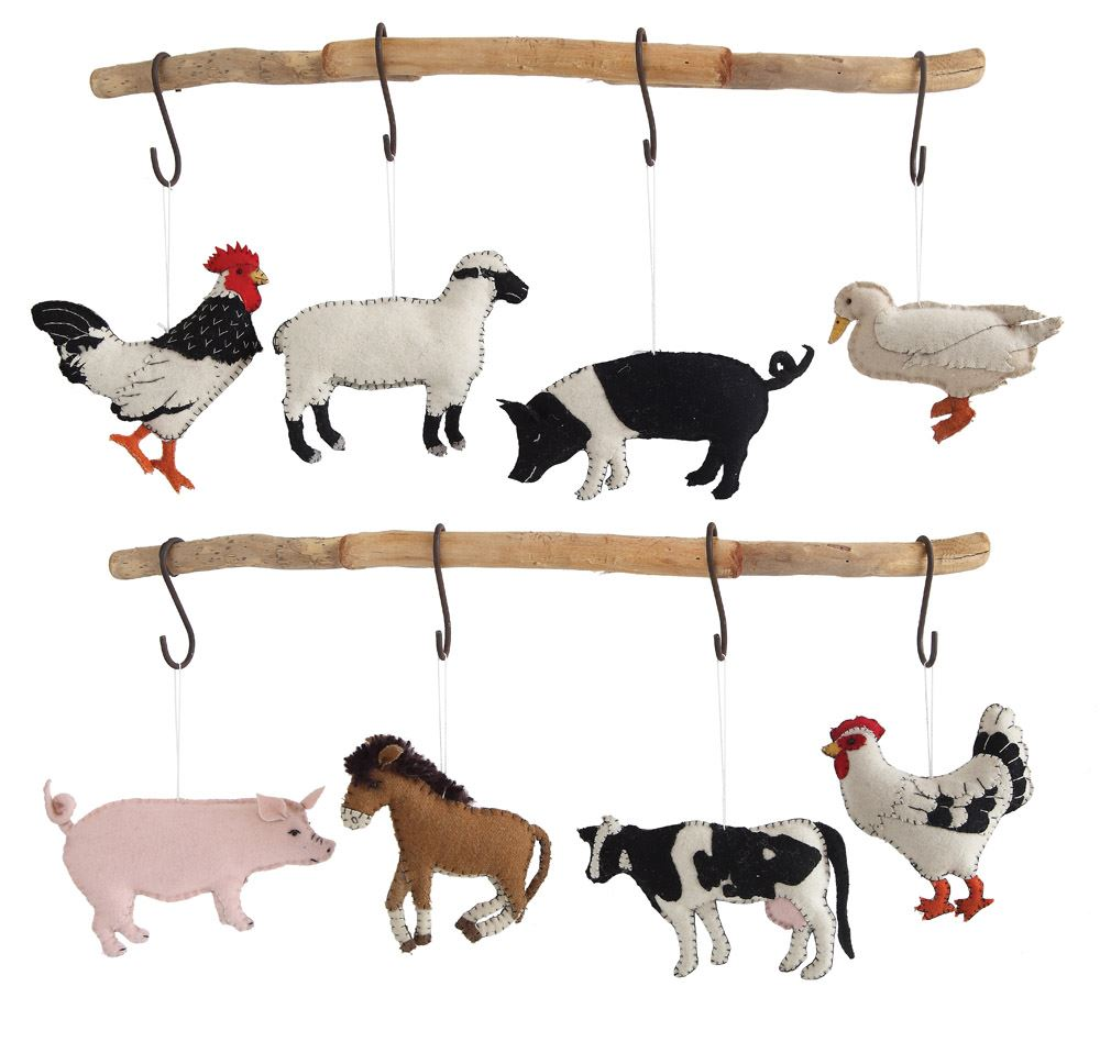 Felt Farm Animal Ornaments - Pigs Cow Rooster