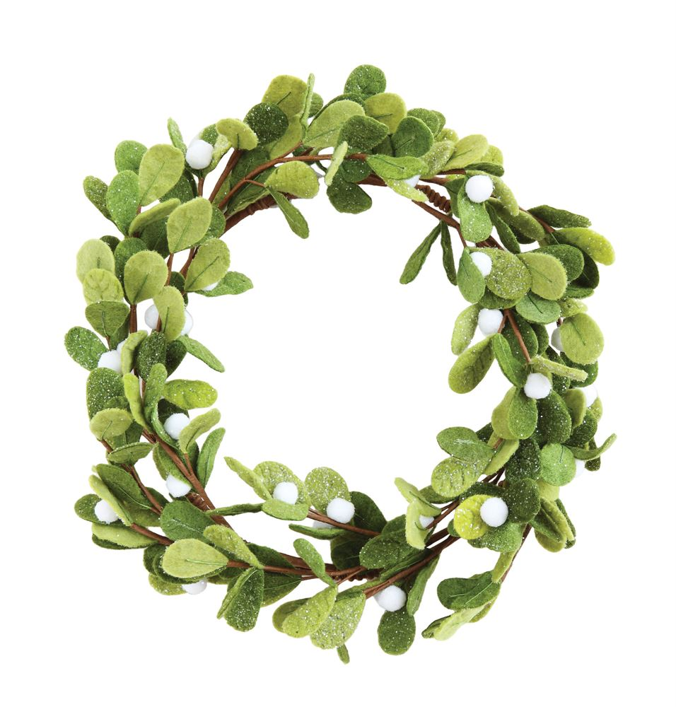 Green Felt Mistletoe Wreath