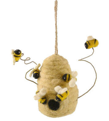 Felted Wool Bee Skep Ornament