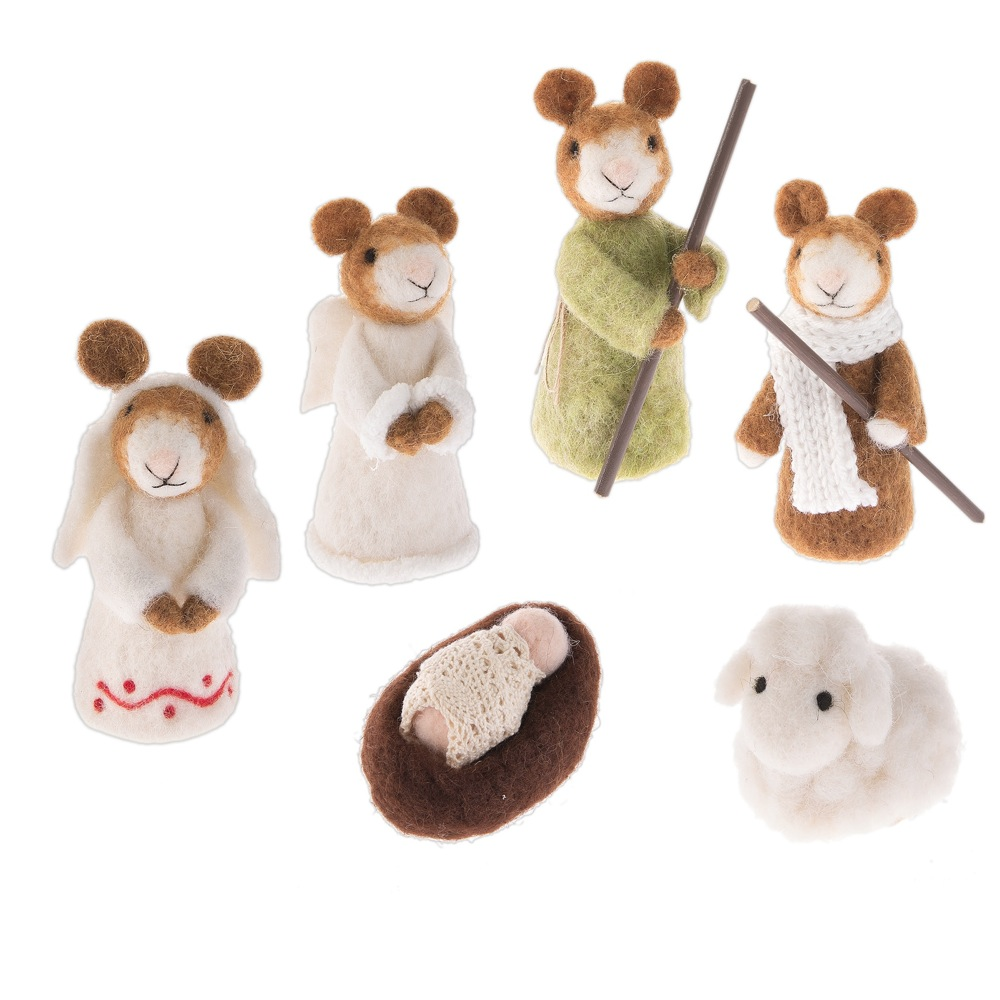 Felted Wool Mouse Nativity