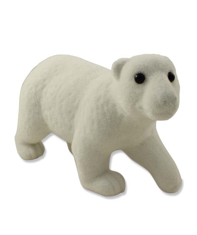 Flocked Polar Bear Christmas Figurine